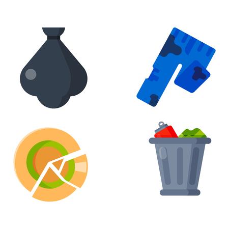 separacion de basura: Los dibujos vectoriales conjunto de desechos y la basura para su reciclaje. Contenedor de basura reutilización iconos residuos domésticos separación. Electrodomésticos del vector de basura de residuos de basura papelera de reciclaje ambiente basura ecología.
