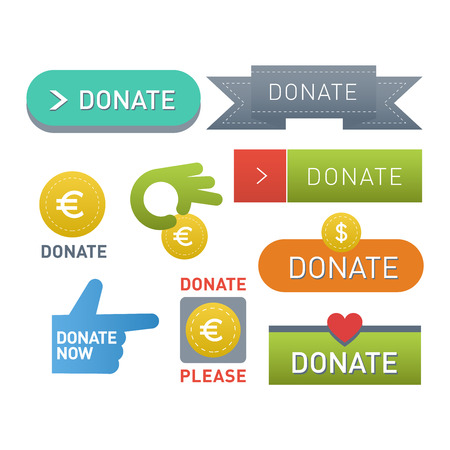 aiding: Vector donate concept hand and money set of buttons in flat style. Donation gift charity, isolated web donate buttons design sign contribute. Money giving symbol donate buttons set. Illustration