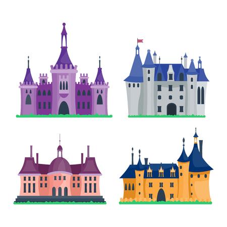 stronghold: Cartoon fairy tale castle tower icon. Cute cartoon castle architecture. Vector illustration fantasy house fairytale medieval castle. Princess cartoon castle cartoon stronghold design fable isolated
