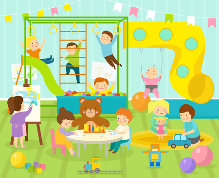 Boy room with big slide swing with light furniture decor. With kids playground and toys on the floor carpet playroom apartment decorating. Flat style cartoon comfortable kids room vector illustration.