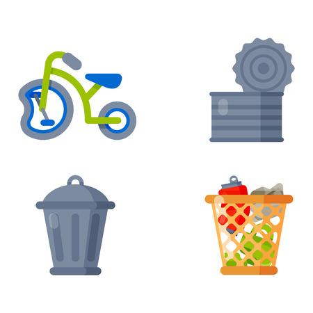 separacion de basura: Los dibujos vectoriales conjunto de desechos y la basura para su reciclaje. Contenedor de basura reutilizaci�n iconos residuos dom�sticos separaci�n. Electrodom�sticos del vector de basura de residuos de basura papelera de reciclaje ambiente basura ecolog�a.