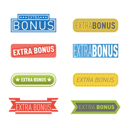 extra money: Super and extra bonus banners text in color drawn labels, business shopping concept vector. Internet promotion shopping extra bonus labels. Extra bonus labels advertising discount marketing.
