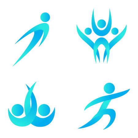 performing: Silhouette of abstract people icon and abstract silhouette people. Performance silhouette logo people abstract figure pose. Set of abstract people logo silhouettes vector icon