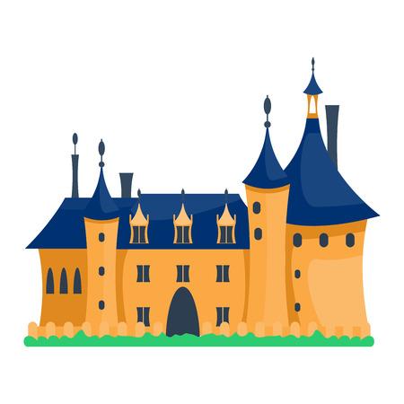 hadas de dibujos animados icono de la torre del castillo del cuento. arquitectura castillo de la historieta linda. ilustración vectorial de la fantasía de cuento de hadas casa castillo medieval. Princesa castillo de la historieta de dibujos animados de diseño bastión fábula aislado