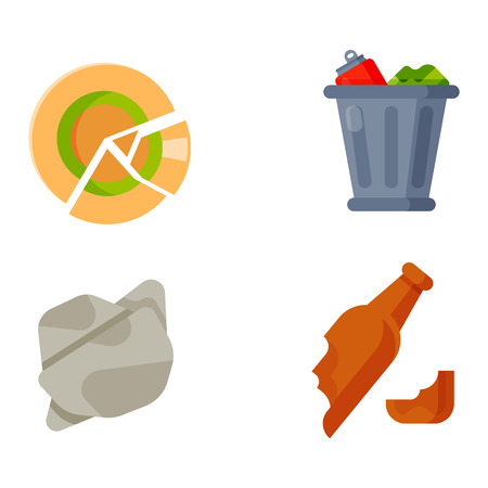separacion de basura: Vector drawings set of waste and garbage for recycling. Container reuse separation household waste garbage icons. Household waste garbage icons garbage trash rubbish recycling ecology environment.
