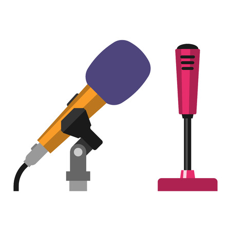 tv show: Microphone vector icon isolated. Some vector microphone interview, music, TV. Web broadcasting microphone, vocal tool, tv show microphone icon isolated Illustration
