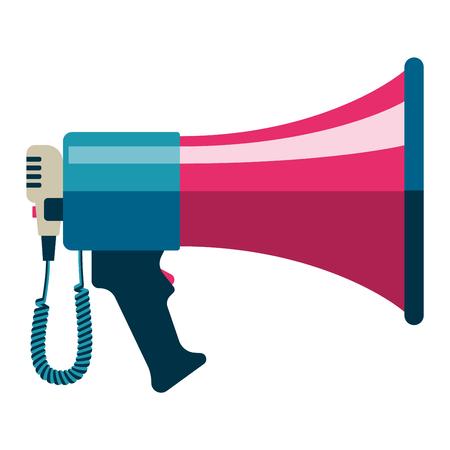 megaphone icon: Flat vector icon of megaphone for social media marketing concept. Megaphone icon announcement sound and speech bullhorn. Megaphone icon message communication loudspeaker. Illustration