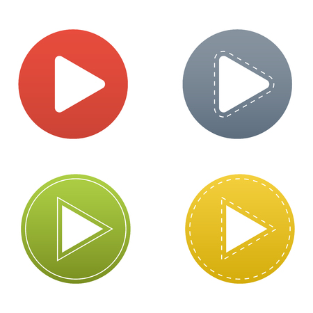 UI interface button play media. Vector internet play button player isolated. Website online cinema play button concept. Play button website element sign. Online tube player ui web element Vettoriali
