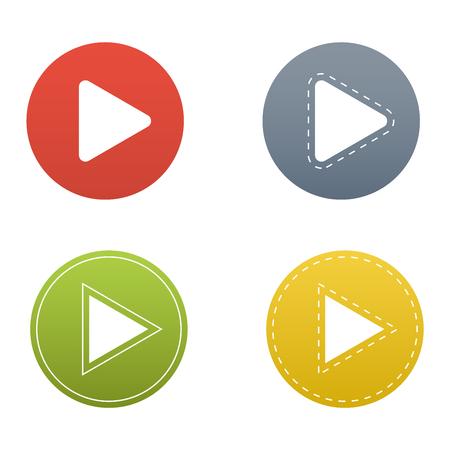 UI インターフェイス ボタン再生メディア。ベクトル ・ ネットは、分離ボタン プレーヤーを再生します。ウェブサイト オンライン映画は再生ボタン  イラスト・ベクター素材