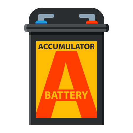 12v: Accumulator battery energy power and electricity accumulator battery. Accumulator battery alkaline generation energy. Battery accumulator car auto parts electrical supply power isolated 12v vector. Illustration
