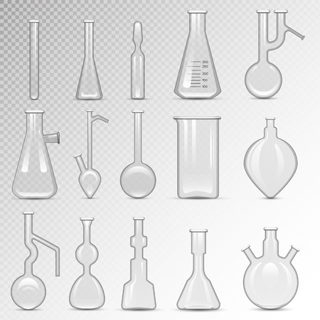 equipment experiment: Chemical laboratory vector lab empty flask glassware tube liquid biotechnology analysis. Set of lab flask tubes medical scientific equipment. Chemistry experiment research test science glass lab flask.