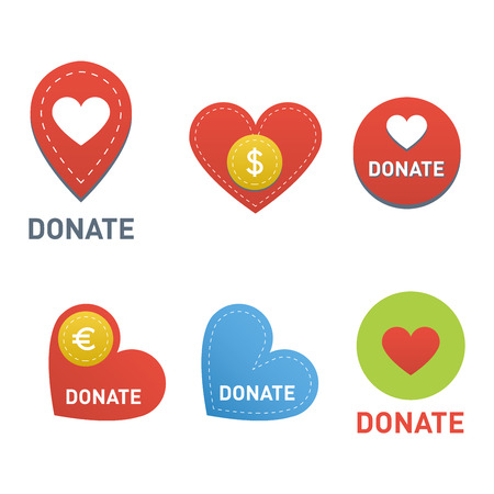 contribute: Vector donate concept hand and money set of buttons in flat style. Donation gift charity, isolated web donate buttons design sign contribute. Money giving symbol donate buttons set. Illustration