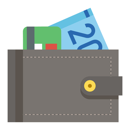empty pocket: Purse wallet icon with money shopping. Shopping buy change business currency purse wallet. Financial payment bag accessory object purse trendy wallet vector. Illustration