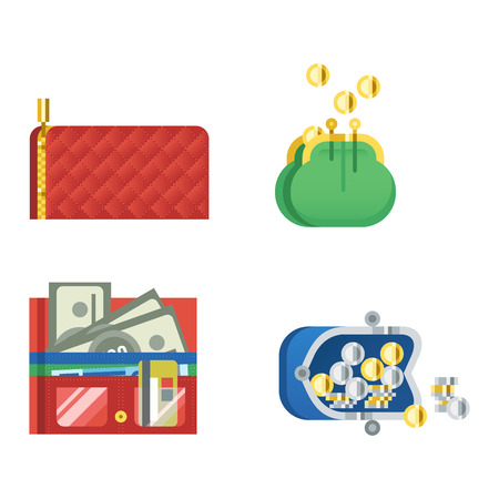 change business: Open purse leather wallet with money shopping. Shopping buy change business currency leather open purse wallet. Financial one payment bag accessory object open purse trendy wallet vector.