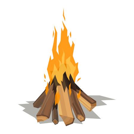 キャンプファイヤーの隔離された図は、燃焼たき火を記録します。白い背景の上のたき火です。ベクトルたき火分離と木製爆発輝くかがり火分離し  イラスト・ベクター素材