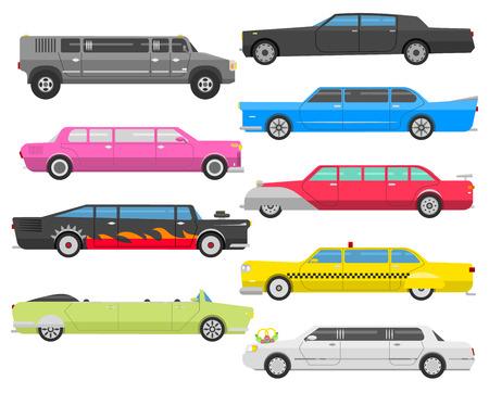 car speed: Detailed vector luxury limousine set black long car. Transportation limousine detailed luxury car design collection. Limousine vector set long business car design speed pickup graphic. Illustration