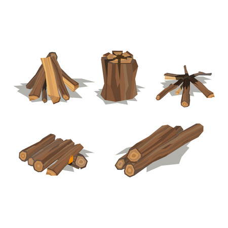 raw materials: Firewood fireplace for bonfire stack vector wooden material. Firewood stacked wooden blocks. Firewood bonfire stack energy industry. Firewood fireplace stack vector illustration isolated