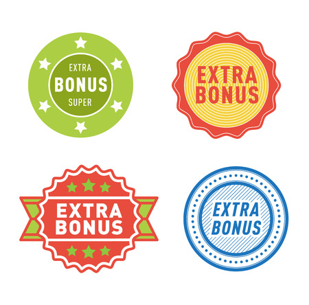 extra: Super and extra bonus banners text in color drawn labels, business shopping concept vector. Internet promotion shopping extra bonus labels. Extra bonus labels advertising discount marketing.