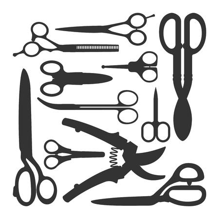 metal sign: Vector different illustration of scissors on white background. Scissors trim equipment template steel blade metal sign. Barber silhouette salon work set scissors. Style hairdresser tailor sign. Illustration