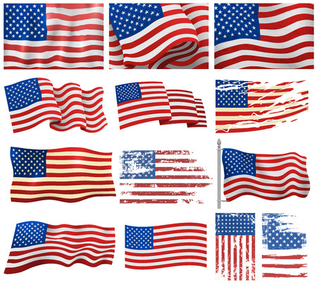 Independence day USA flags. Set of United States american symbol flag USA. American flag set freedom national sign. Wavy USA flag patriotic banner american wavy shape celebration holiday symbol. Illustration