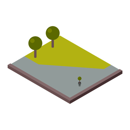 cross section: Isometric 3d land agriculture landscape and isometric 3d land lawn tree concept. Isometric section earth field. 3d illustration of isometric land cross section of ground with grass isolated vector. Illustration