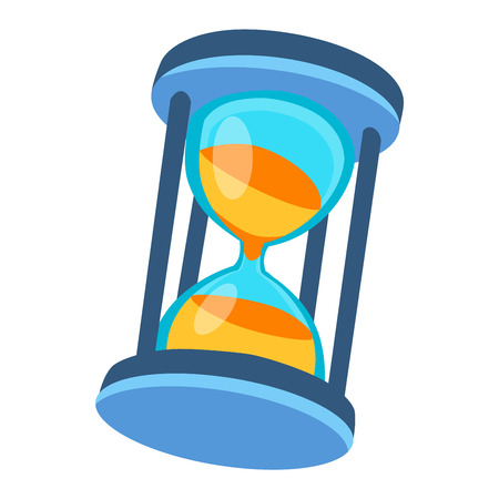 to trickle: Sandglass icon, time hourglass, sand clock flat design history second old object. Vector illustration sand clock hourglass timer hour minute watch countdown flow measure.