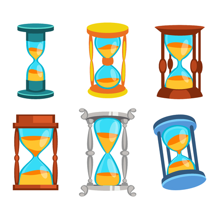 trickle: Sandglass icons set, time hourglass, sand clock flat design history second old object.