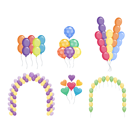 helium: Color glossy balloons mega set vector illustration. Round entertainment balloons holiday festival happy gift. Balloons beautiful toy party day celebrate, isolated helium color carnival tool.