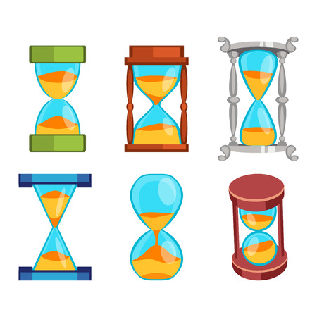 trickle: Sandglass icons set, time hourglass, sand clock flat design history second old object. Vector illustration sand clocks hourglass timer hour minute watch countdown flow measure.
