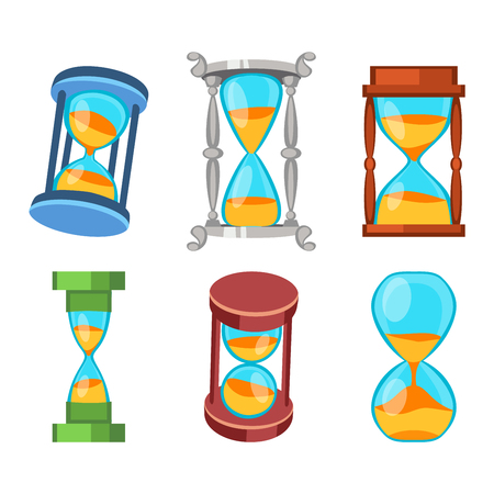 sand watch: Sandglass icons set, time hourglass, sand clock flat design history second old object. Vector illustration sand clocks hourglass timer hour minute watch countdown flow measure.