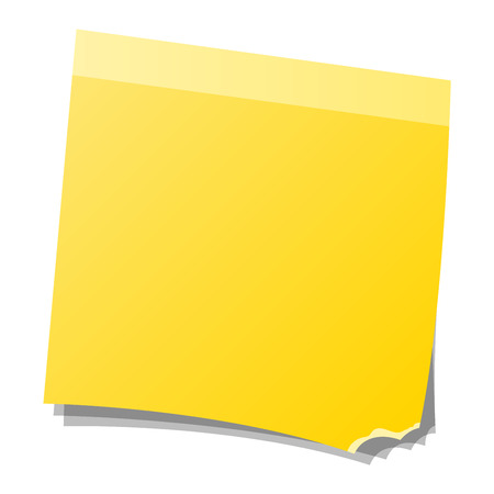 paper note: Yellow sticker and note paper sheet sticky isolated on white background vector illustration. Message office paper note. Sticker note sheet sticky business paper blank yellow note paper