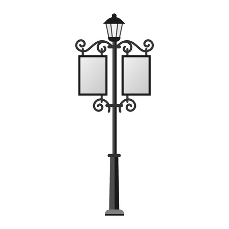 street lamp: Street lamp silhouette retro metal street object electricity industry and vintage street lamp black silhouette vector. Street lamp flat vector illustration. Street lamp silhouette