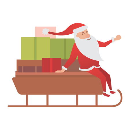 happy driver: Cartoon Santa Claus driver sled delivery illustration. Santa Claus drive sled isolated vector, Santa cloth, red hat, sledge. Happy mery Christmas gifts. New year Illustration