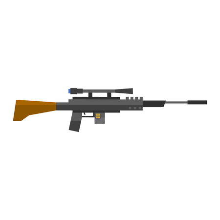 carbine: Steel sniper rifle war gun. Sniper rifle crime gun machine, special fire gun. Vector heavy assault large arms carbine sniper rifle futuristic weapon with grenade launcher military gun. Illustration