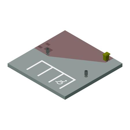cross road: Isometric road vector design elements. Road cross, blocks, road elements isolated on white background. Vector road constructor design elements illustration.