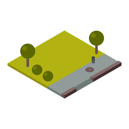 cross section of tree: Isometric 3d land agriculture landscape and isometric 3d land lawn tree concept. Isometric section earth field. 3d illustration of isometric land cross section of ground with grass isolated vector. Illustration