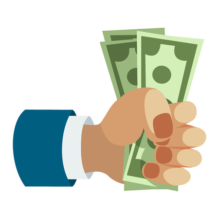 finanse: Human hand holding dollar money pose human fingers. Businessman hand isolated. Silhouette of hand with paper money vector illustration. Bank, money, shopping concept