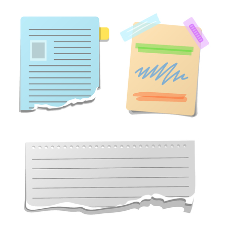 paper note: Sticker and note paper sheet sticky isolated on white background vector illustration. Message office paper note. Sticker note sheet sticky business paper blank note paper. Adhesive notice Illustration