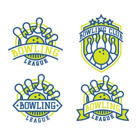 ベクター ボウリング ロゴ エンブレムとスポーツのロゴ デザイン要素。ロゴのテンプレートとバッジをボーリングします。ボウリング バッジ スポ  イラスト・ベクター素材