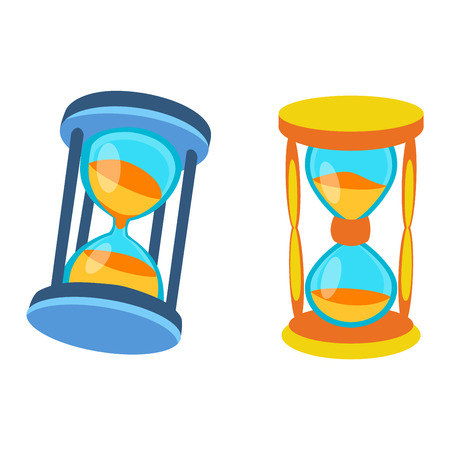 trickle: Sandglass icon, time hourglass, sand clock flat design history second old object. Vector illustration sand clock hourglass timer hour minute watch countdown flow measure.