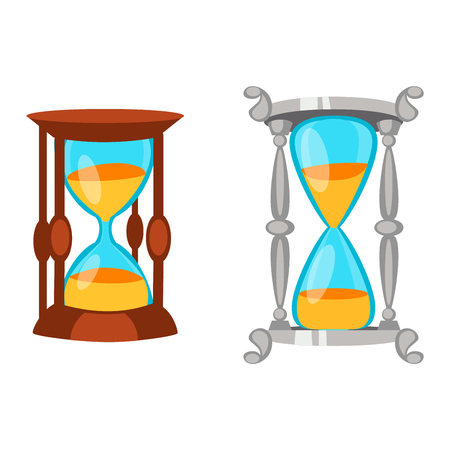 sand watch: Sandglass icon, time hourglass, sand clock flat design history second old object. Vector illustration sand clock hourglass timer hour minute watch countdown flow measure.