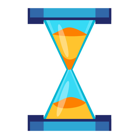old timer: Sandglass icon, time hourglass, sand clock flat design history second old object. Vector illustration sand clock hourglass timer hour minute watch countdown flow measure.