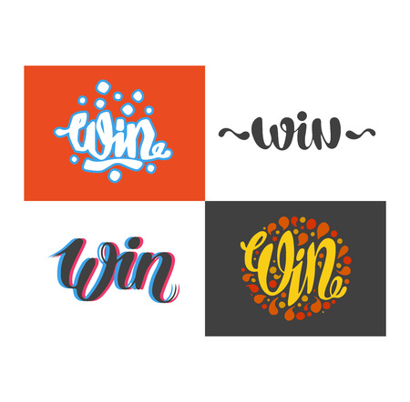 gamble: Win text sign vector test illustration. Success luck message contest promotion win text. Banner competition award lucky lottery word win text. Modern reward gamble champion text.