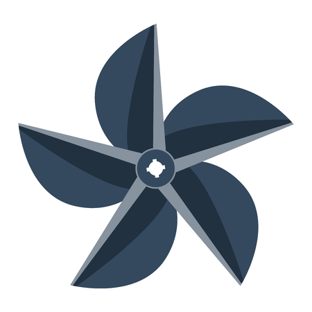 Turbine ship boat icon propeller fan rotation technology equipment. Fan blade, wind ventilator propeller ship boat fan equipment. Vector illustration propeller ship fan vector industrial ventilator Illustration