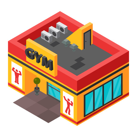 Vector gym fitness isometric building isolated. Gym isometric building. Gym fitness isometric building design. Urban business construction design construction
