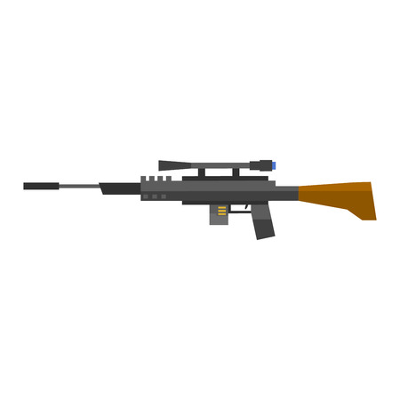 assault: Steel sniper rifle war gun. Sniper rifle crime gun machine, special fire gun. Vector heavy assault large arms carbine sniper rifle futuristic weapon with grenade launcher military gun. Illustration