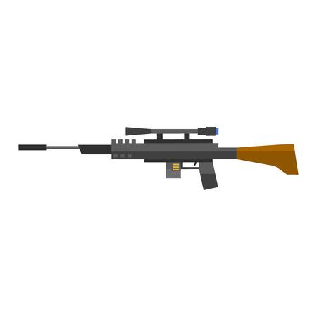 Steel sniper rifle war gun. Sniper rifle crime gun machine, special fire gun. Vector heavy assault large arms carbine sniper rifle futuristic weapon with grenade launcher military gun. Illustration