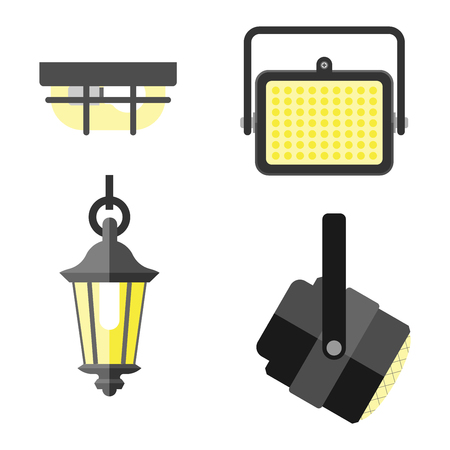 classic furniture: Lamps styles design electricity classic light furniture, different types electric equipment vector illustration. Vector lamps different light type and electric vector lamps. Energy decorative lamps. Illustration