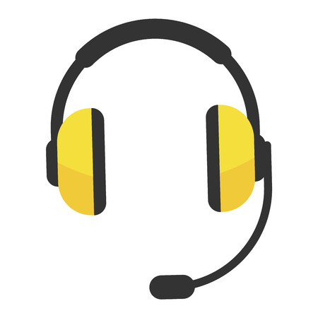 isolation: Headphones vector icon isolated on a white background. Computer headphones icon web. Technology headphones music equipmen