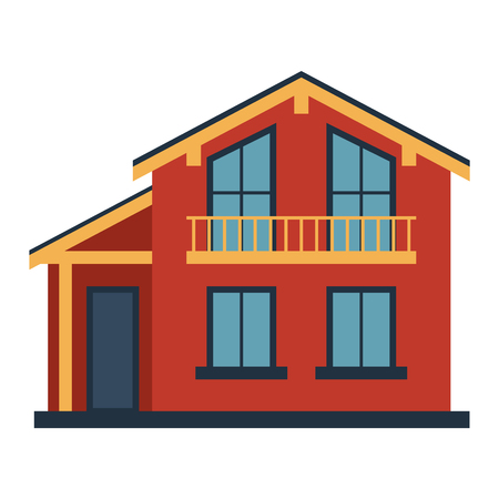 front of house: House front view vector illustration. Houses flat style modern constructions vector. House front facade building architecture home construction, urban house building s apartment front view